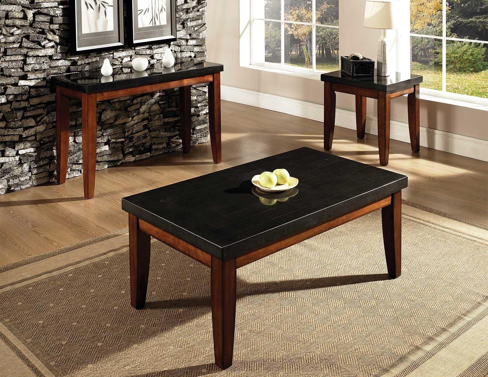 Prostokątny stół w blatem z granitu