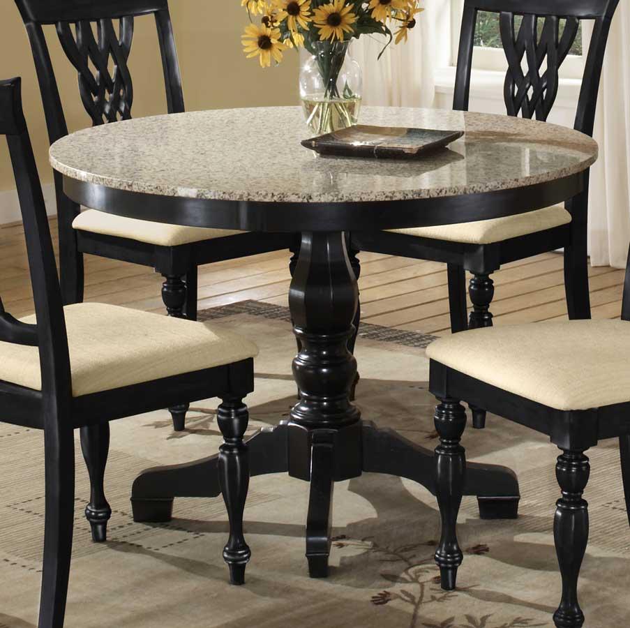 Okrągły stół w blatem z granitu